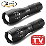 Tactical Flashlight [2 PACK], iBester 1600 Lumens CREE XML-T6 LED Taclight As Seen On