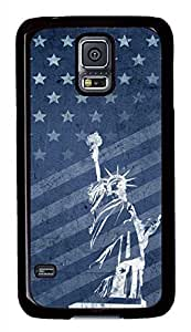 Retro Statue Of Liberty And Flag PC Black Hard Case Cover Skin For Samsung Galaxy S5 I9600