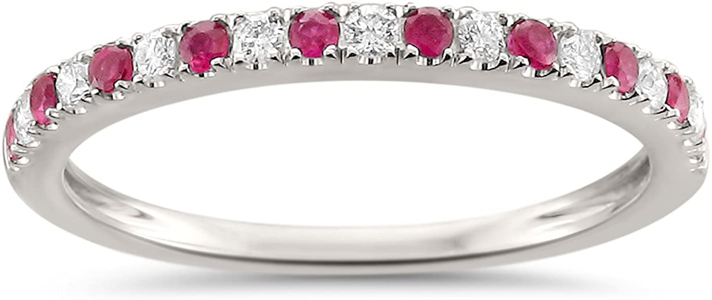 fc2fc2d7453aa9 14k White Gold Round Diamond & Red Ruby Micro-Pave Bridal Wedding Band Ring  (1/4 cttw, H-I, VS2-SI1)