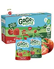 GoGo squeeZ Unsweetened Applesauce Pouches, Variety Pack (Apple/Apple Strawberry Flavours), No Sugar Added - 1,080 Grams (12 Pouches of 90 Grams)