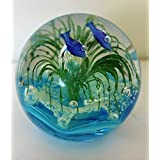 "3.55"" Murano Design Dolphins in Seaworld of Bubbles Paperweight (Different Colors)"