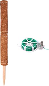SISIPAI LIFE 24 Inches Coir Totem Pole with 65 Feet Garden Twist Tie, Coir Moss Totem Pole for Plant Support Extension, Climbing Indoor Plants, Creepers, Use Moss Poles Individually or Together