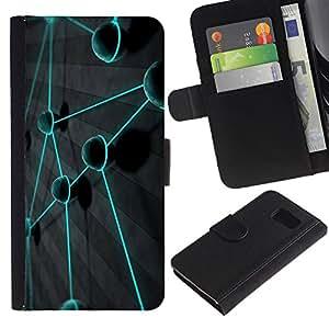 All Phone Most Case / Oferta Especial Cáscara Funda de cuero Monedero Cubierta de proteccion Caso / Wallet Case for Sony Xperia Z3 Compact // Teal Color Vibrant Planet Network