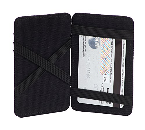amp; Wallet Card The RFID Scholar Canvas Black Canvas Blocking Holder Magic w0aqgw