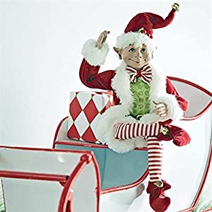 16 inch Posable Elf in Santa Outfit Christmas Decor by Raz Imports 2