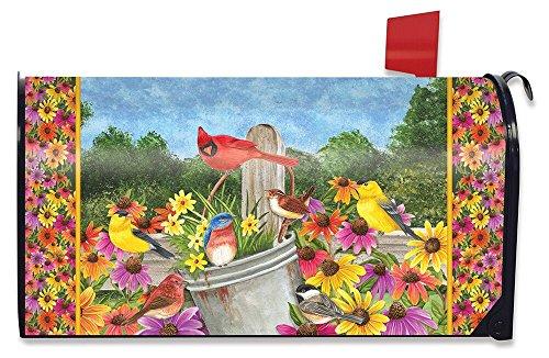 Briarwood Lane Spring Gathering Cardinal Magnetic Mailbox Cover Floral Birds Standard
