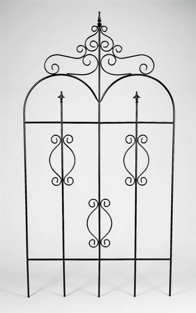 Metal Garden Fence Gate in Black Finish w Finials