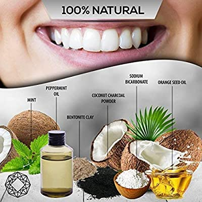 Diamond Labs   Premium Activated Carbon Charcoal Teeth Whitening Kit   Large (2oz) Size   Includes (1) FREE Bamboo Toothbrush + FREE Downloadable E-Book   Mint Flavor
