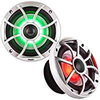 Wet Sounds XS Series Silver Grill 6.5 Speakers w/ RGB LED. 60 Watts RMS Each