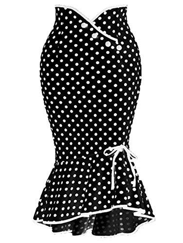 High Waist Bodycon Business Party Mermaid Midi Skirts,XL Black
