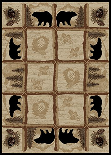 Rug Empire HS7472 8X10 Rustic Lodge Area Rug, Bear Cabin