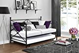DPH Sturdy Metal Daybed with Roll Out Trundle Combo - Twin - Black