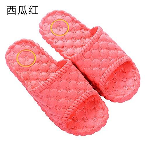 GAISHISHENGONG Slippers Summer Home Men and Women Couples Indoor Cool Slippers Home Thick Bottom Plastic Baths Non-Slip Bath Slippers Red pbvO1WLQxA