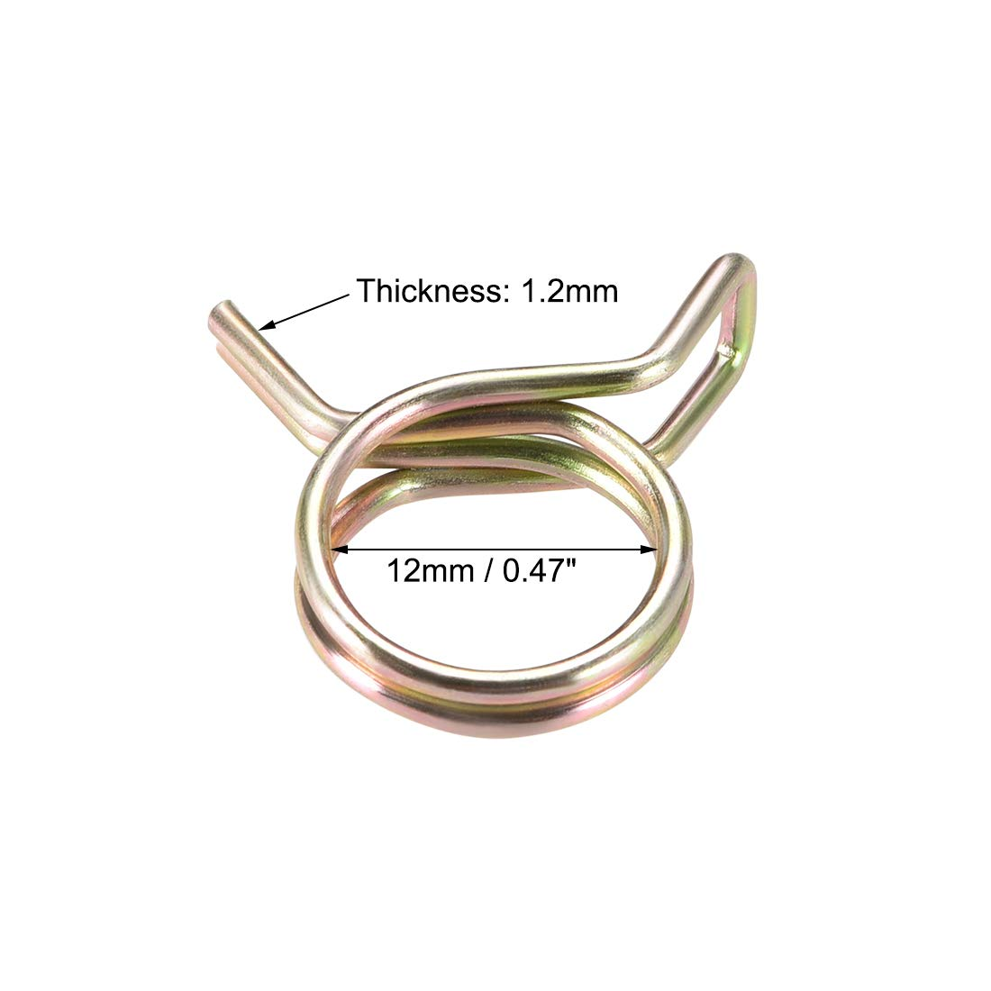uxcell Double Wire Motorcycle ATV 12mm Fuel Line Silicone Hose Tube Spring Clips Clamp Zinc Plated 20Pcs