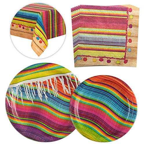 Serape Fiesta Party Supplies Kit-16 Guests Serape Tableware Party Bundle|Perfect Mexican Fiesta Cinco De Mayo Themed Parties|Serape Dinner+Dessert Paper Plates,Lunch Paper Napkins,Plastic Table covers