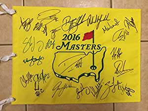 Autographed 2016 Masters Flag - Signed by 24 - Phil, Zach, Kuchar, Bubba, Schwartzel, Louis