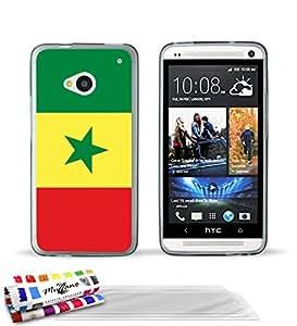 """Carcasa Flexible Ultra-Slim HTC ONE de exclusivo motivo [Bandera Senegal] [Gris] de MUZZANO  + 3 Pelliculas de Pantalla """"UltraClear"""" + ESTILETE y PAÑO MUZZANO REGALADOS - La Protección Antigolpes ULTIMA, ELEGANTE Y DURADERA para su HTC ONE"""