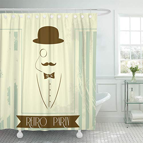 - Semtomn Shower Curtain French Black Gatsby Retro for Party Silhouette Man Great Shower Curtains Sets with 12 Hooks 72 x 72 Inches Waterproof Polyester Fabric