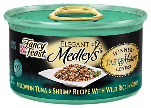 Purina Fancy Feast Elegant Medleys Tastemakers Yellowfin Tuna and Shrimp with Wild Rive in Gravy Cat Food, 3-Ounce (Pack of 24), My Pet Supplies
