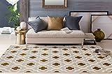 Moroccan Trellis Pattern Soft Light Gray-Yellow 5'3'' x 7'3'' Area Rug