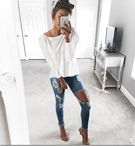 Dos Tops Blanc Sweater Shirt en Sexy Longues Automne Col Tricot Crois Vrac Chandail Pull Hiver T CWCentury Nu V Femme Manches en x6q41WH