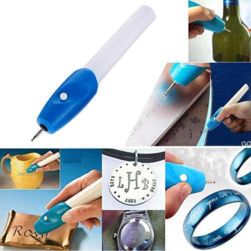 Wood Wood Carving - Batter Powered Convenient Electric Etching Engraving Carve Steel Jewellery Engraver Pen Kit Metal - Animals Materials Pouch Instruction Instructional Kevlar Love Parting ()