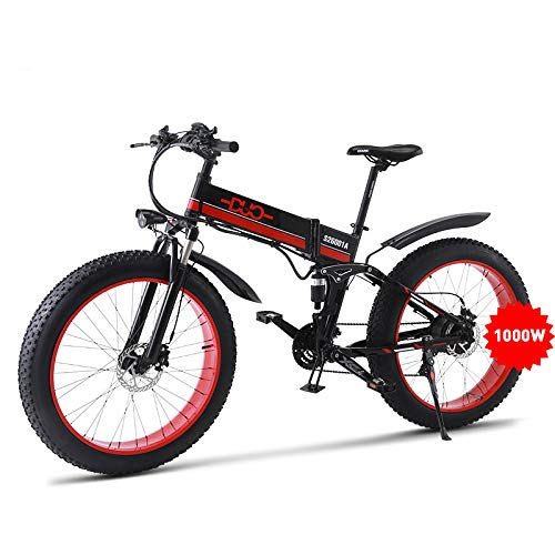 GUNAI Electric Snow Bike 48V 1000W 26 inch Fat Tire Ebike with Removable 48V Battery