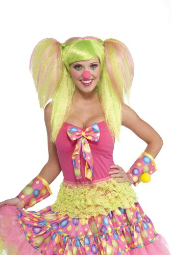 [Forum Novelties Women's Circus Sweetie Costume Wig, Green/Pink, One Size] (Neon Green Wigs)