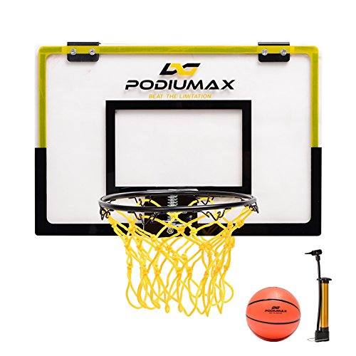 PodiuMax CLEARANCE Mini Basketball Hoop Set for Door, Simple Basketball Wall-Mount Hoops & Goals Perfect for Bedroom, Office Shoot & Dunk, Come with Mini Ball and (Basketball Hoops Cheap)