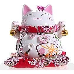Goodwei Maneki Neko - Japanese Lucky Cat With Two Bells, Ornately Decorated Porcelain