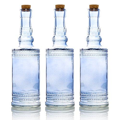 Glass Vintage Lavender (Quasimoon PaperLanternStore.com Bulk Pack (3) Camila Lavender Vintage Glass Bottle Wedding Flower Vase)