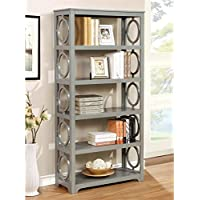 Furniture of America Ludie 5 Shelf Bookcase in Gray