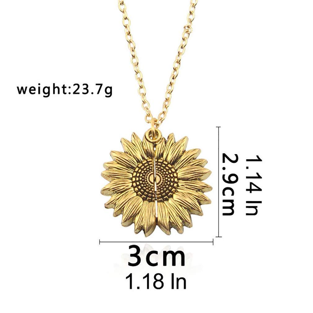 DINAENS Sunflower Necklace for Women Girls Pendant You are My Sunshine Necklace Engraved Locket