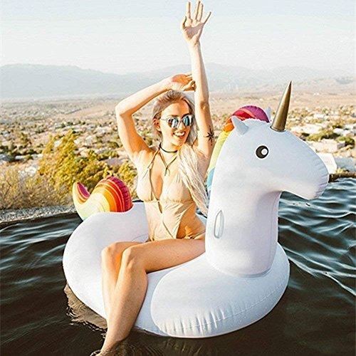 Jasonwell Big Inflatable Unicorn Pool Float Floatie Ride On with Rapid Valves Large Jumbo Rideable Blow