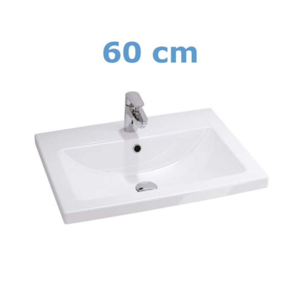 VBChome Badmöbel 60cm Waschbecken mit Unterschrank 60cm Badmöbel 2 Schubladen Nussbaum Lara 6d2240