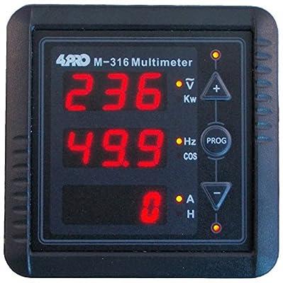 4PRO M-316 Digital Multimeter, 1 Ph, V/A/Hz/KW/COS/T, (67mm67mm), 85-265VAC 50/60Hz