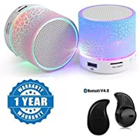 Drumstone Mini Stereo Portable Wireless Bluetooth Speaker with S530 Mini Style Bluetooth Headset for all Smartphones (Color may Vary)