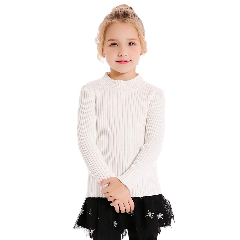 SMILING PINKER Kids Girls Pullover Sweaters Knit Long Sleeve Turtleneck Fall Winter Basic Tops(6-7,White)