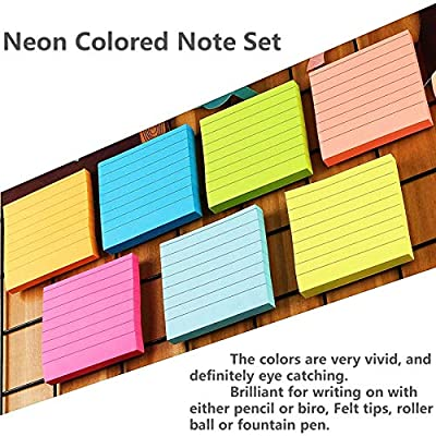 A+Selected Lined Sticky Notes 3x3 Inches, 7 Pack Self-Stick Note Stickers, Stick Note Pads Colored Red, Pink, Orange, Yellow, Green, Blue