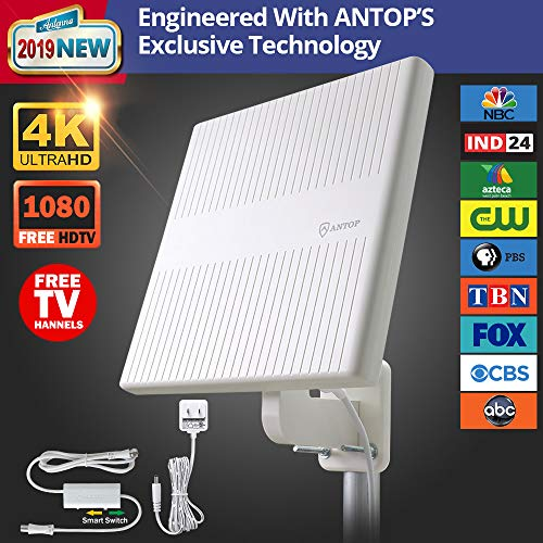 Outdoor TV Antenna, ANTOP 360° Omnidirectional Reception HDTV Antenna 65 Miles with Built-in 4G LTE Filter and Smartpass Amplifier for Indoor,Outdoor,RV,Attic Use, Supports VHF & UHF Signals