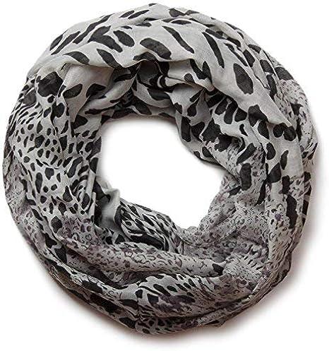 Femmes LOOP ÉCHARPE TUBE-Loop avec léopard-écharpe en 4 Couleurs Motif