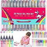 GirlZone: 30 Piece Colouring Gel Pens Set, Ideal Birthday Present & Arts & Crafts Gifts For Girls Age 3 4 5 6 7 8 9 10 Years Old. Colouring Pens For Kids