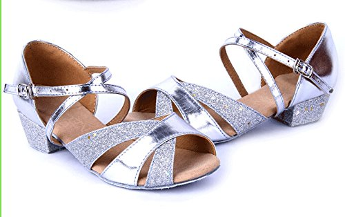 Girls Soft-soled Glittering Latin Ballroom Dance Shoes with Leather Strap(13.5, Silver) by staychicfashion (Image #1)