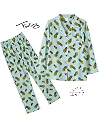 Pineapple Pattern Light Green Pajamas Set For Women Turn-down Collar Full Length Lady Pyjamas