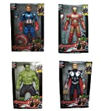 Oviwa Avengers Hulk, Captain America, and Iron Man with Weapons Twist and Move Avengers Age of Ultron Action Figure 19cms with LED Light fuction