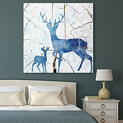 Abstract Cracked Blue Ceramic Deer - Canvas Art