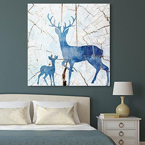 Square Blue Deer Wood Effect