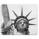 Art Mousepad Natural Rubber Mouse Pad Printed with Close Up of Statue of Liberty New York Stitched Edges,Rubber mat 11.8'x 9.8',3mm thickness