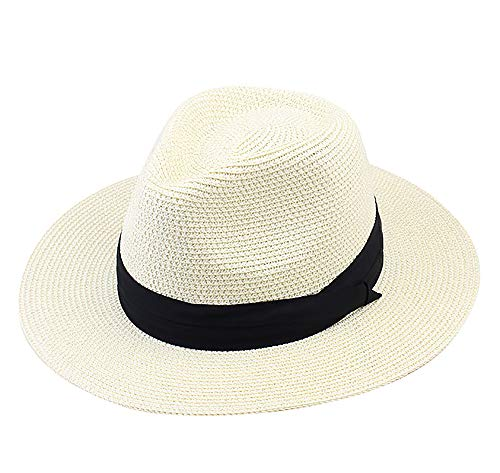 IL Caldo Women Wide Brim Straw Panama Roll up Summer Hat Fedora Beach Sun Hat Cap
