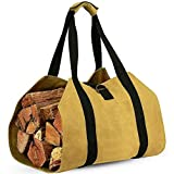 """Hyever Firewood Log Carrier Canvas Tote Bag Effortless Hold & Carry Firewood Fireplace 39""""×18"""" Khaki"""